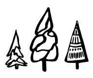 Set of doodle fir trees. Christmas tree.  Decorative ink  objects Stock Photography