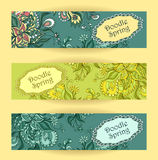 Set Doodle floral banners in blue marine green. Colors for advertising spring summer sale  or for advertising different  things Stock Photo