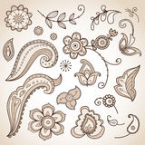 Set of doodle floral elements Royalty Free Stock Images