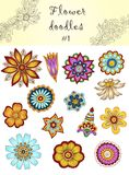 Set of doodle flowers #1.  Ornamental Flowers. Royalty Free Stock Photo