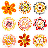 Set of doodle flowers Royalty Free Stock Photo