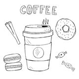 Set of doodle food and drink icons,  hand drawn coffee, macaron, sweetmeats, cinnamon with text Stock Images