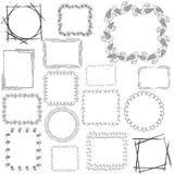 Set with 16 Doodle Frames. Big Set with Hand Drawn Geometric and Floral Frames. Free Hand Vector Style. Dark Textured Frames on the White Background. Vector EPS stock illustration