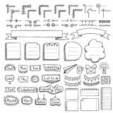 Set of doodle frames, borders, corners, dividers, ribbons, weekdays and design elements