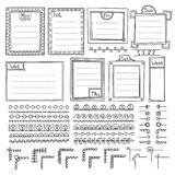 Set of doodle frames, borders, corners, dividers, ribbons, weekdays and design elements. Bullet journal hand drawn vector elements for notebook, diary and Royalty Free Illustration