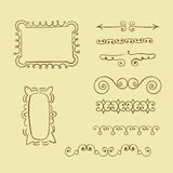 Set of doodle frames and decorative elements. Royalty Free Stock Images