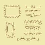 Set of doodle frames and decorative elements. stock illustration