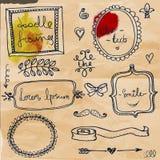 Set with doodle frames. Set with doodlehand drawn frames vector illustration