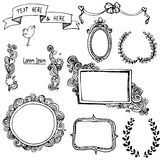 Set with doodle frames. Set with doodlehand drawn frames Royalty Free Stock Photo