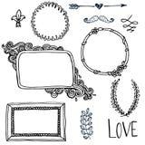 Set with doodle frames. Set with doodlehand drawn frames Stock Images