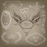 Set with doodle frames. Set with doodlehand drawn frames Royalty Free Stock Photography