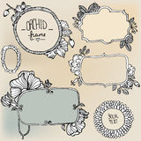 Set with doodle frames. Set with doodle hand drawn frames Royalty Free Stock Images