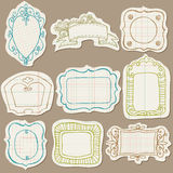 Set of Doodle Frames on torn paper Royalty Free Stock Photo