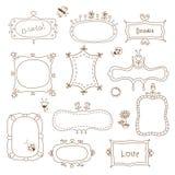 Set of doodle frames Stock Photos