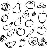 Set of doodle fruits and vegetables Royalty Free Stock Photos