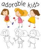 Set of doodle girl royalty free illustration