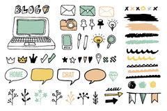 Set of doodle graphic elements for blog, graphic projects, s Stock Image