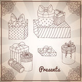 Set of doodle hand drawing presents and gifts Royalty Free Stock Images