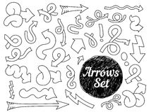 Set of doodle hand drawn arrow elements. Royalty Free Stock Photos