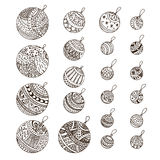 Set of doodle hand drawn Christmas balls Royalty Free Stock Images