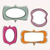 Set of doodle, hand drawn frames. With white background inside. Vector illustration stock illustration