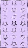 Set of doodle hand-drawn star garlands on chalkboard background. twenty-one stars Royalty Free Stock Image