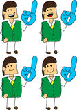 Set of doodle happy businessman sports fan with glove Stock Photos