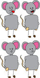 Set of doodle happy mouse Stock Image