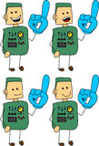 Set of doodle happy robot, android sports fan with glove Royalty Free Stock Photos