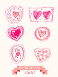 Set of doodle heart icons for valentines day Royalty Free Stock Images