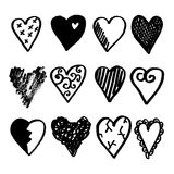 Set of doodle hearts, black sketches s Stock Photo