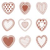 Set of doodle hearts Stock Photography