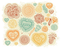 Set of doodle hearts and flowers. Set of vintage doodle hearts and flowers Royalty Free Stock Photo