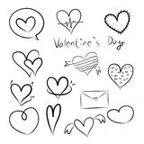 Set of doodle hearts Royalty Free Stock Photo