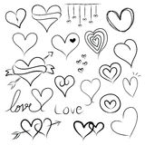 Set of doodle hearts Stock Photos