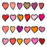 Set of doodle hearts. Retro holiday elements for Valentine Day stock photos