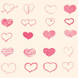 Set of doodle hearts Stock Images