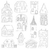 Set of doodle houses Stock Photos