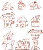 Set of doodle houses Royalty Free Stock Photography