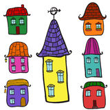 Set of doodle houses Stock Photography