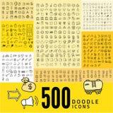 Set of 500 doodle icon Stock Image