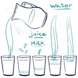 Set doodle icons - Blue Jug and glasses with a drink - milk, wat. Er, juice -  pouring  glass Doodle glass in several forms: empty, partially filled, half full Royalty Free Stock Image