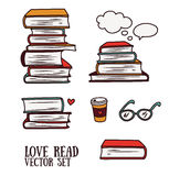 Set of doodle icons with books Stock Images