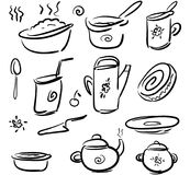 Set doodle icons dishes and food - fast sketch Stock Photography