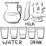 Set doodle icons - Jug and glasses with a drink - milk, water - Royalty Free Stock Photo