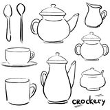 Set doodle icons - Tea and coffee - teapot, coffeepot, sugar bow. Set doodle icons - Service Tea and coffee - teapot, coffeepot, sugar bowl, jug, cup, mug Stock Image