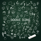 Set of doodle icons, vector hand-drawn objects with chalk Royalty Free Stock Photography