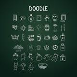Set doodle ikony na chalkboard Obrazy Stock
