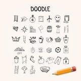 Set doodle ikony, wektorowi pociągany ręcznie przedmioty Zdjęcia Royalty Free
