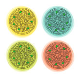 Set of 4 doodle isolated pizzas with different color backgrounds Royalty Free Stock Images